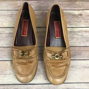 Cole Haan Tan Leather Horse Bit Loafer Shoes